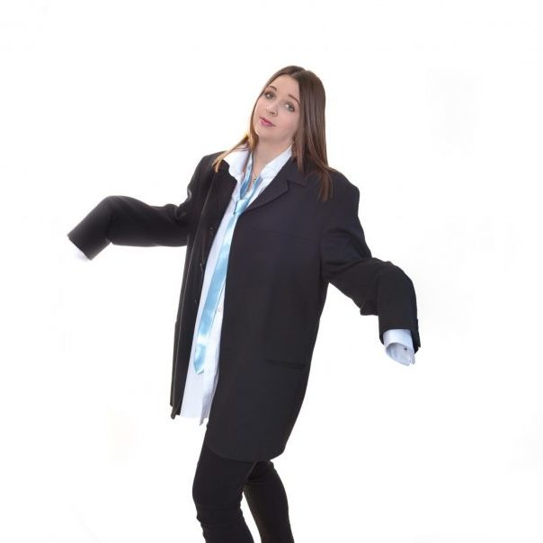 Natalie Thompson in big suit Accounting Connections